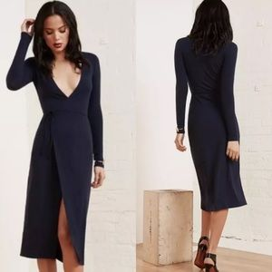 Reformation Cyan Wrap Midi Dress Navy Rib Knit